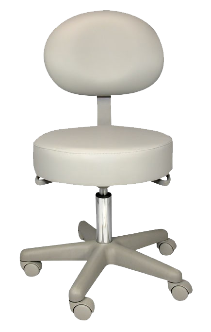 Medical or dental stool, with back, on wheels
