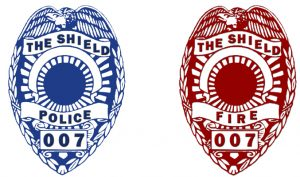Two Shield Chair logos, blue logo for police and red logo for fire fighters