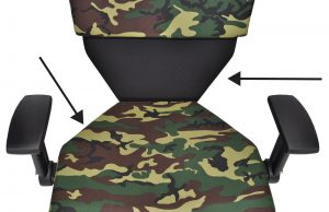 Diagram showing the Shield Chair's lower back and seat are angled, providing additional space for gun belts or other bulky equipment belts.