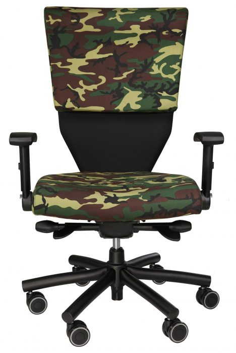 Correction Facility Chair, shown in camouflage, with 6-prong steel base and heavy-duty casters.