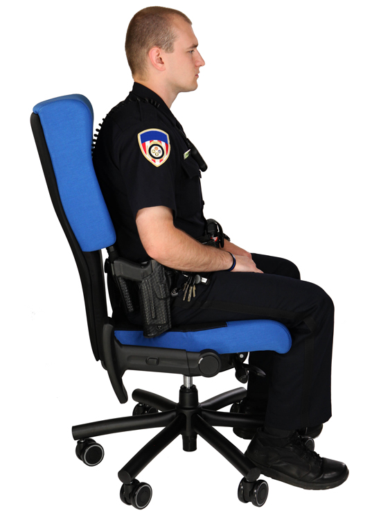 Shield Correction Facility Chair with space for gun belt