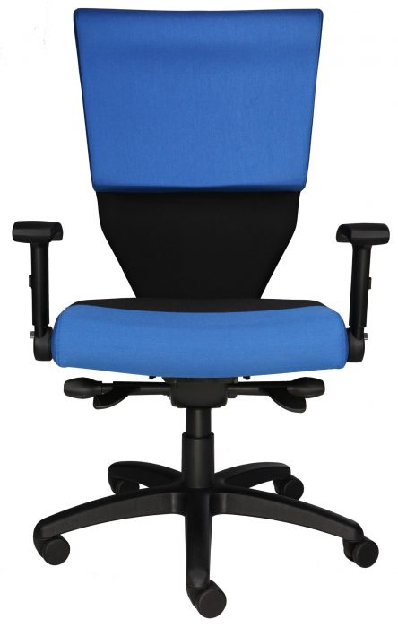 Prison Guard Chair, shown in blue, with 5-prong poly base.