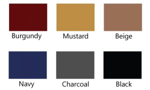 Bumper trim comes in 6 colors: Burgundy, Mustard, Beige, Navy, Charcoal and Black