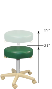 "Medical stool adjustable height ranges from 17"" - 22"""