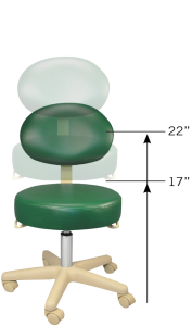 "Rolling medical stool with back, adjustable height ranges from 17"" - 22"""