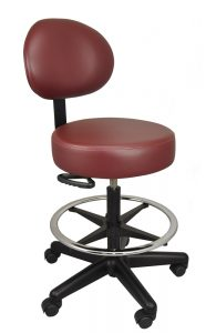 Red rolling medical stool with back and footring