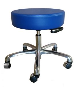 Blue rolling medical stool with adjustable height