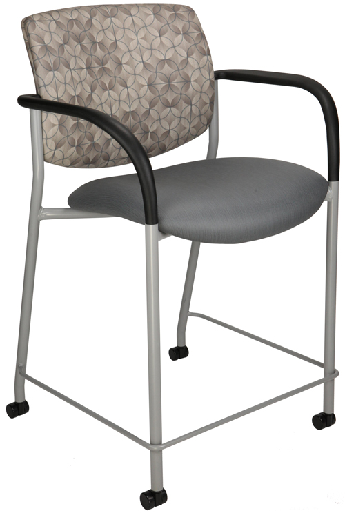 Jem bar stool with gray seat, patterned back, and black arms
