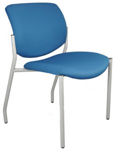 Blue armless Jem Chair with gray frame