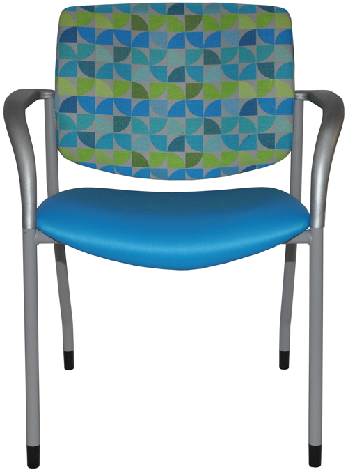 Jem guest chair with blue seat and patterned back