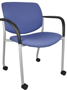 Lobby chair with blue seat and back, arms, and casters