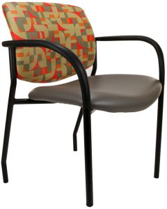 Jem guest chair with arms, show with gray seat and red and gold upholstered back