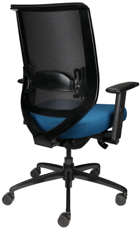 Nifty rolling office chair with mesh back and wheels, back angle view