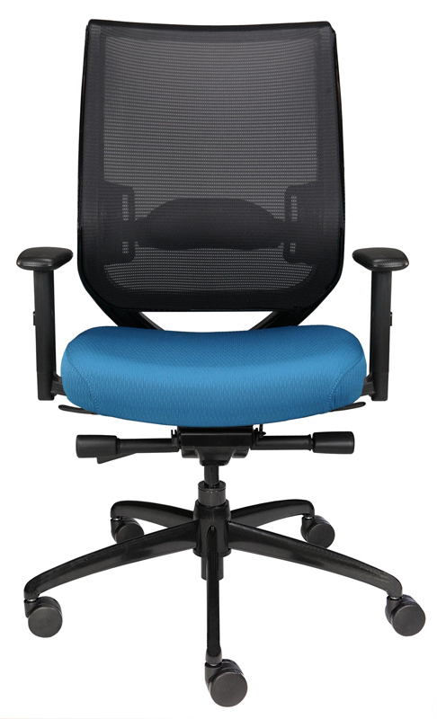 Nifty office chair with mesh back, blue seat, and wheels