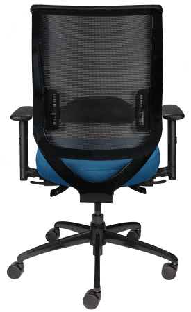 Nifty rolling task chair with mesh back and blue seat