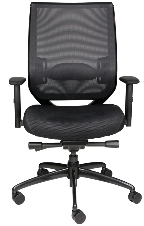 Nifty task chair with mesh back, black seat, and wheels