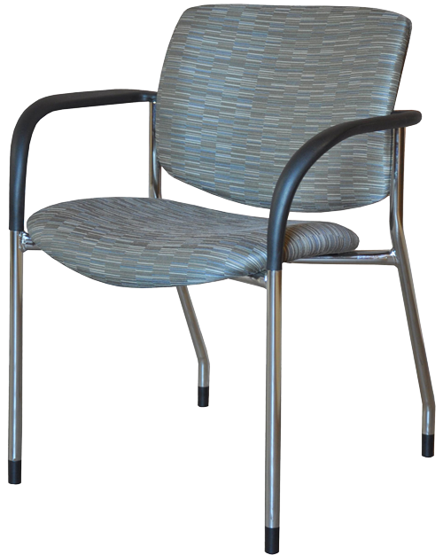Jem side chair with black arms and chrome frame