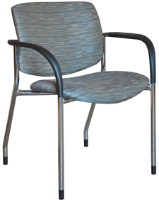 Jem guestchair with black arms and chrome legs