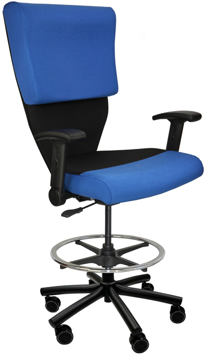 Shield Cop Chair in stool version, shown in blue