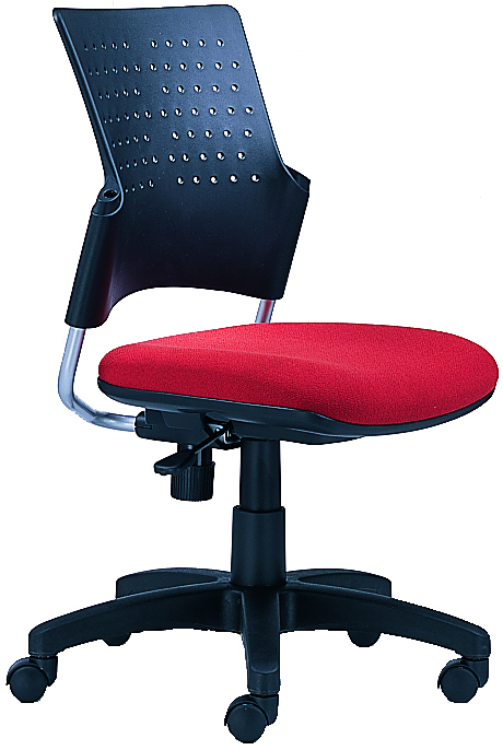 Armless Task Chair with perforated plastic back, red seat, and wheels