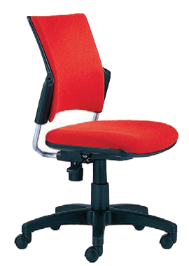 Red armless dorm chair with wheels