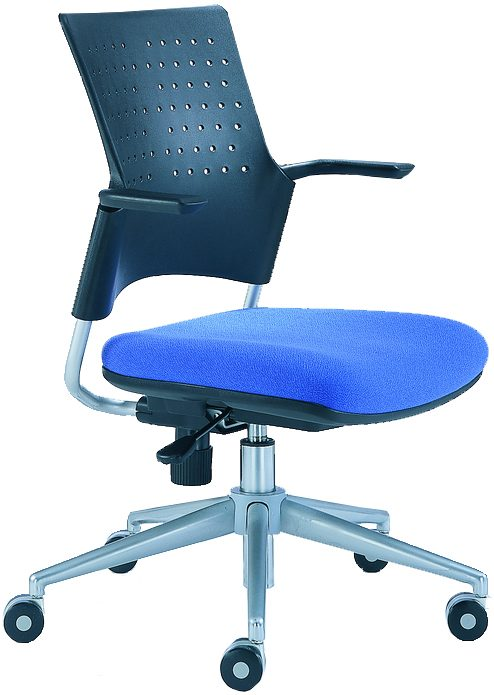 Snap task Chair with fixed arms, perforated platic back, blue seat, and wheels