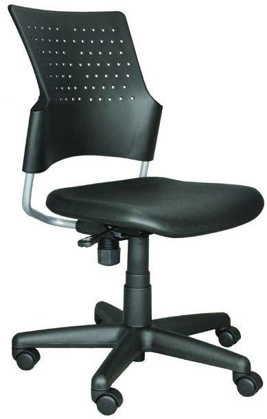 Rolling Task Chair with black plastic back and seat