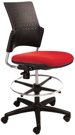 Rolling stool with footring, no arms, black plastic back, and red seat