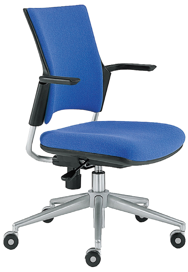 Blue Snap task chair with arems and wheels