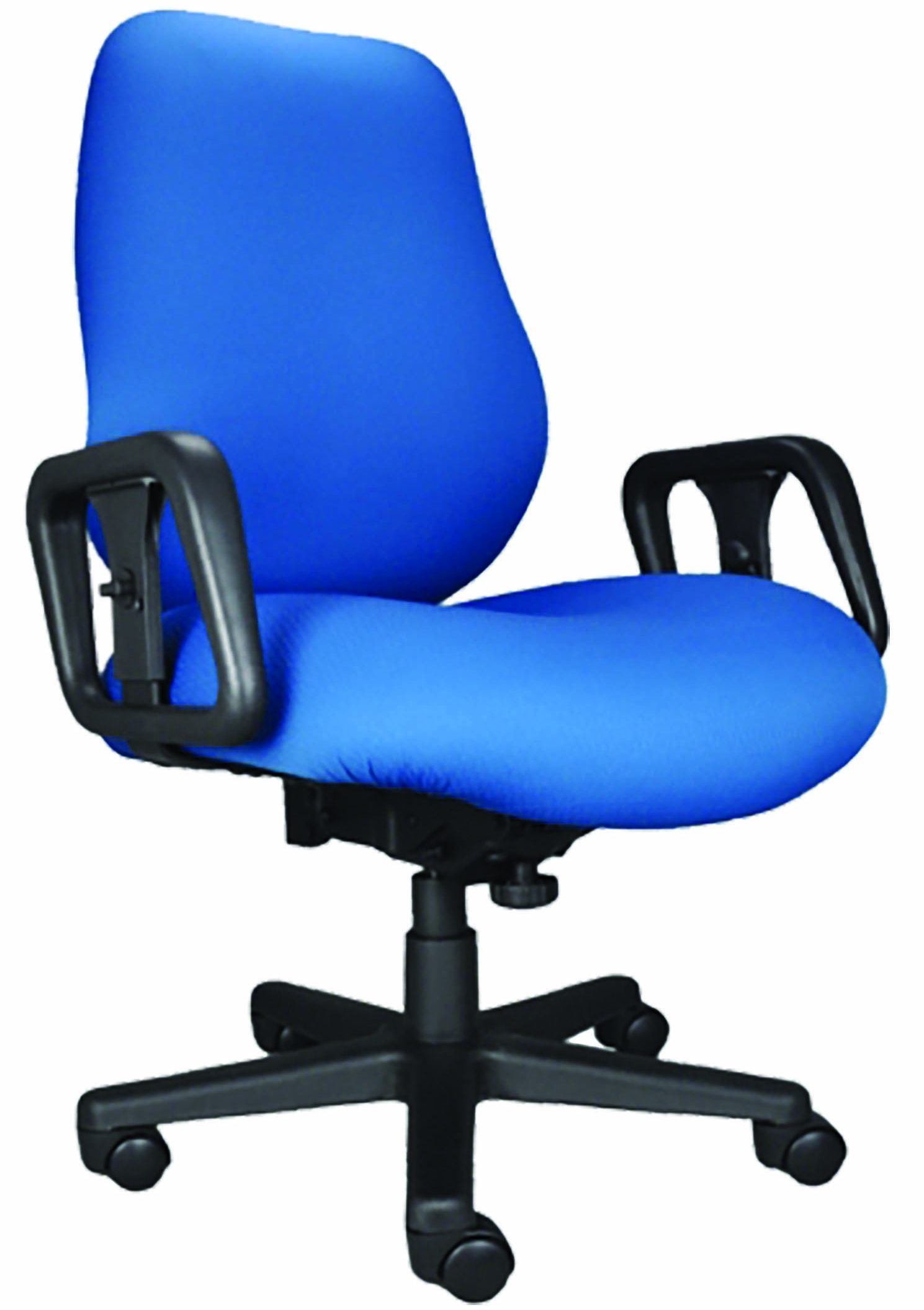 Blue Big & Tall Chair with arms, wheels, and 5-prong base