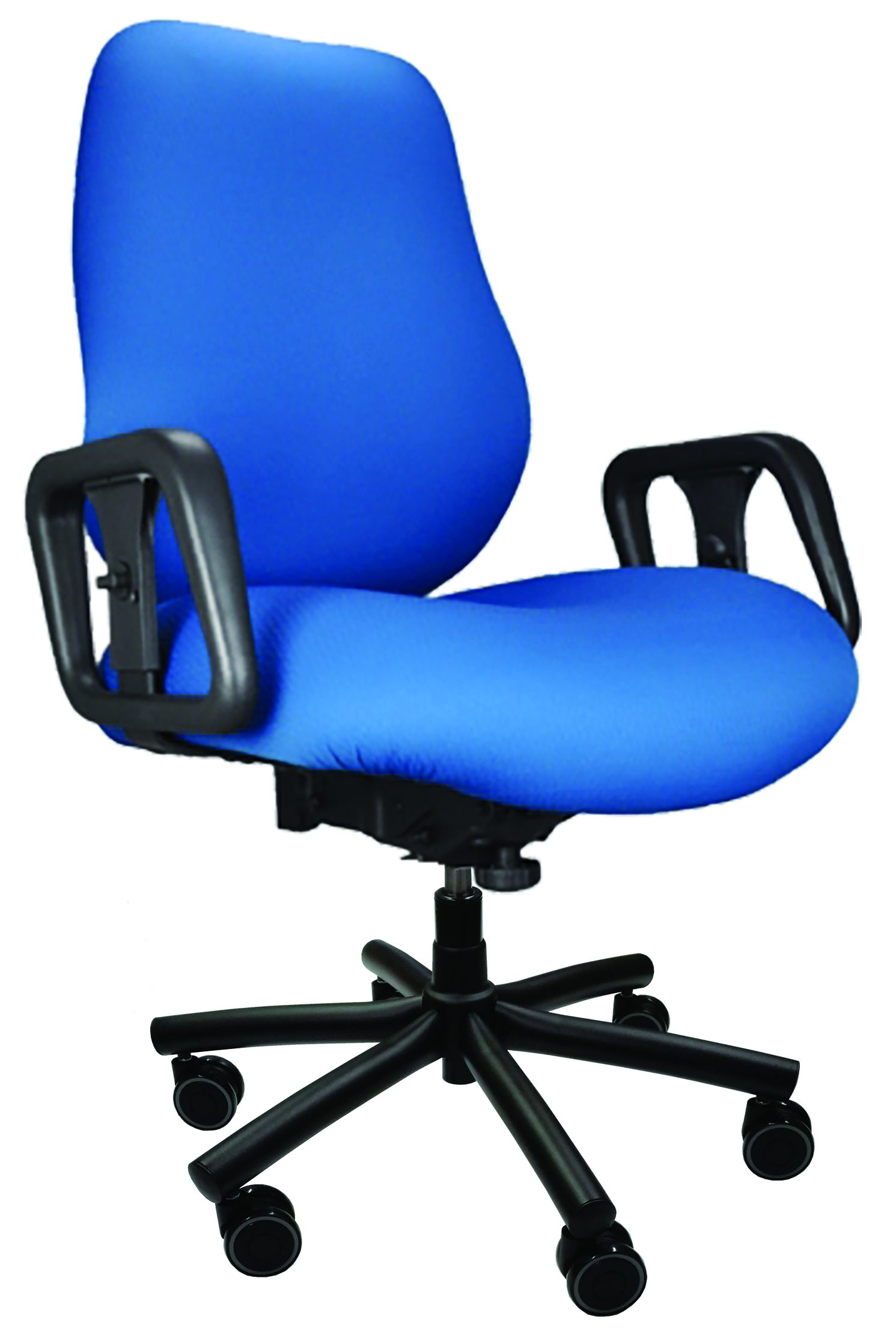 Blue Big & Tall Chair with arms, wheels, and 6-prong base