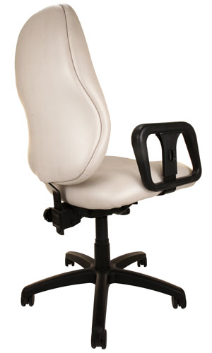 Back angle view of Big & Tall Chair with off-white upholstery, arms, and wheels