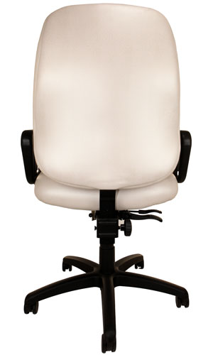 Back view of Big & Tall Chair with off-white upholstery, arms, and wheels