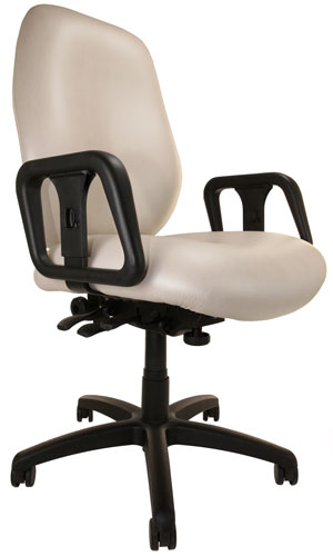 Front angle view of Big and Tall Chair with off-white upholstery, arms, and wheels