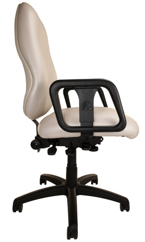 Side view of Big and Tall Chair with off-white upholstery, arms, and wheels