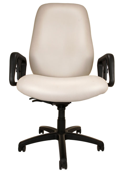 Big and Tall Chair with off-white upholstery, arms, and wheels