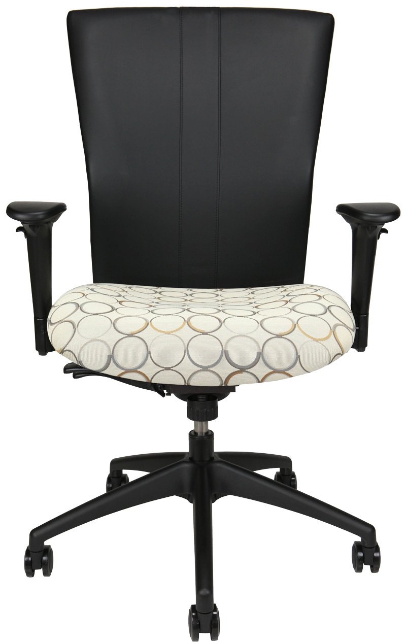 Bailey office chair with black back, patterned fabric seat, arms and wheels