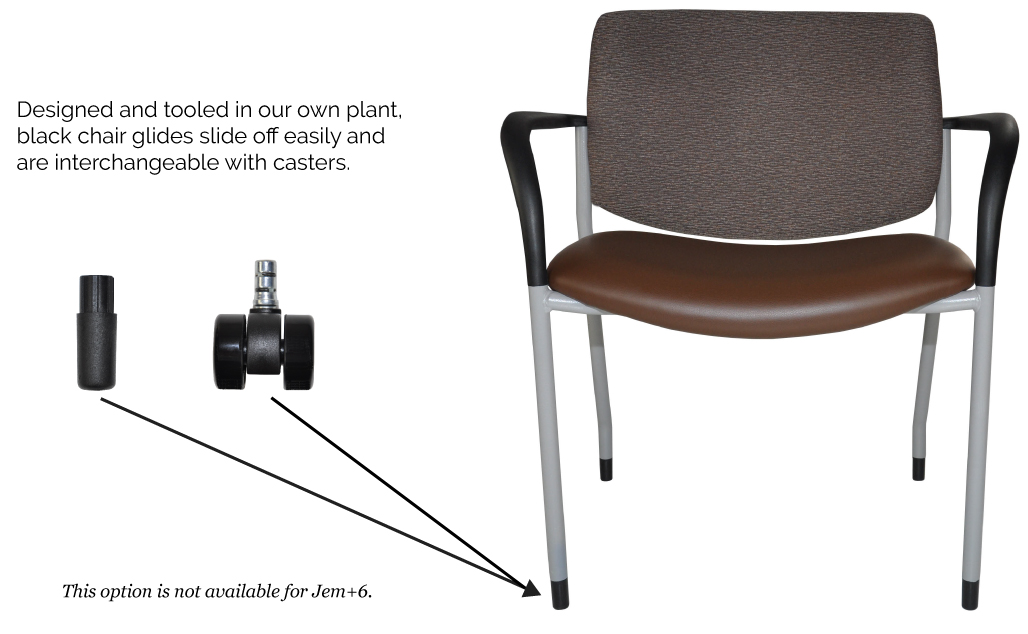 Diagram showing chair glides are interchangeable with casters.