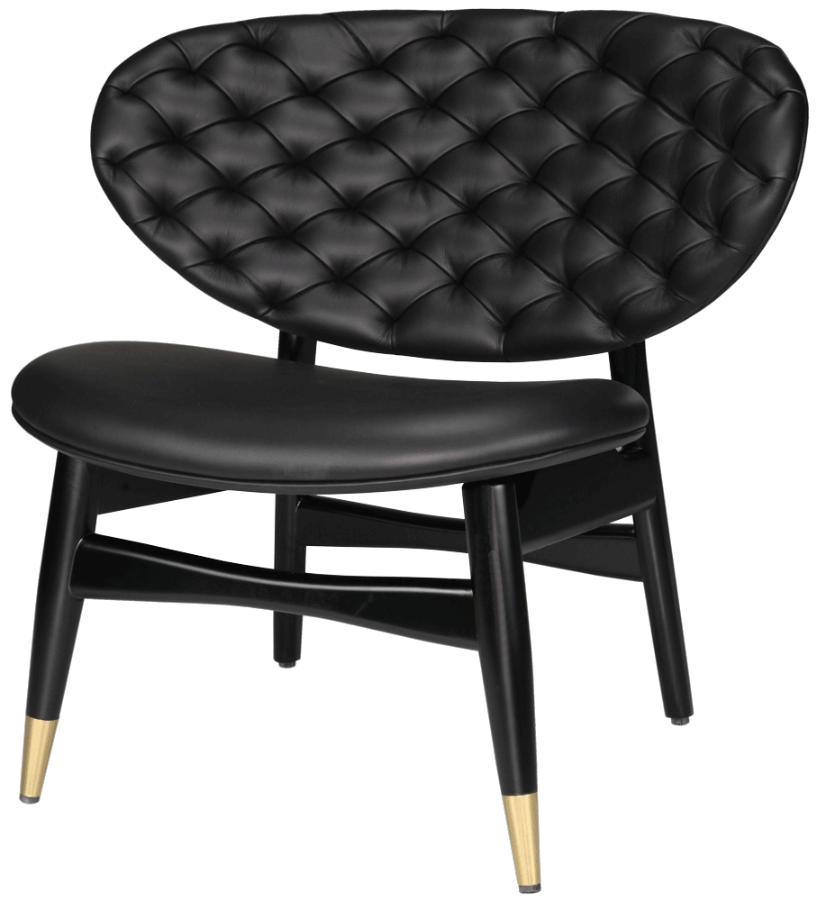 Modern accent chair with black tufted leather