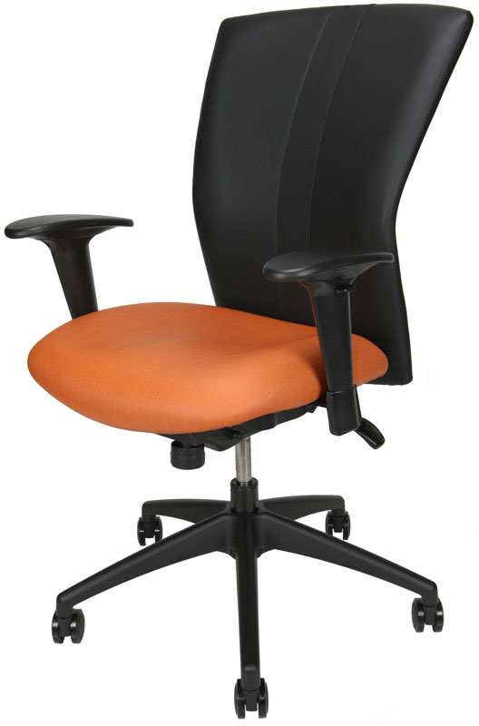 Bailey meeting room chair with orange seat and black back