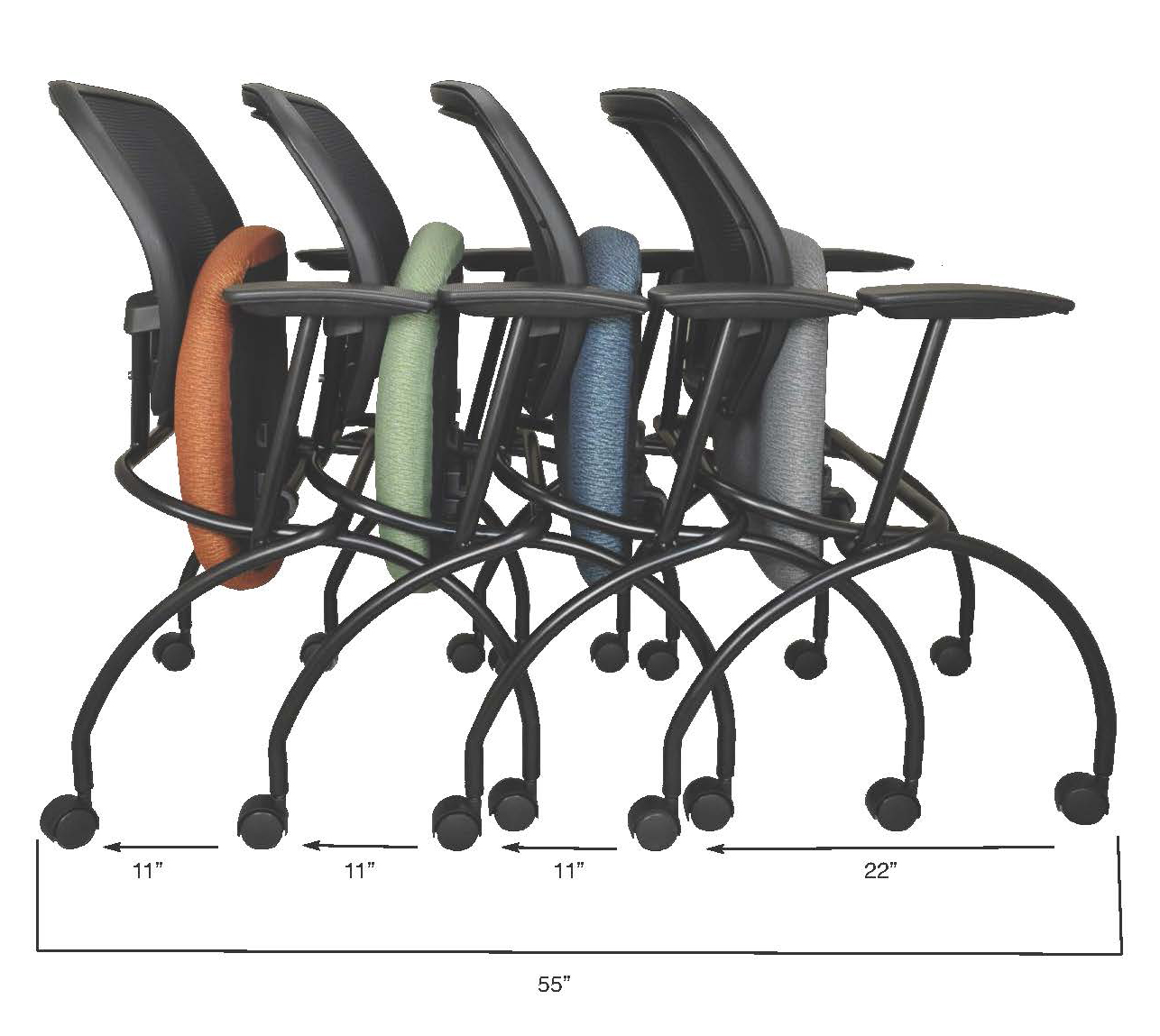 Rust, green, slate blue and gray Caboodle chairs shown nested with footprint measurements