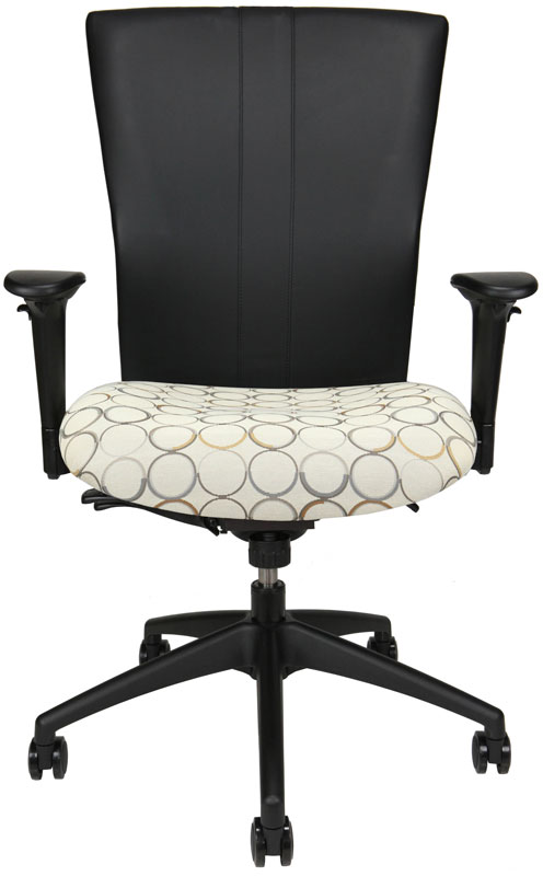 Bailey task chair with black back and upholstered seat