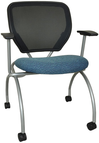 Caboodle nesting chair shown with blue seat and silver frame