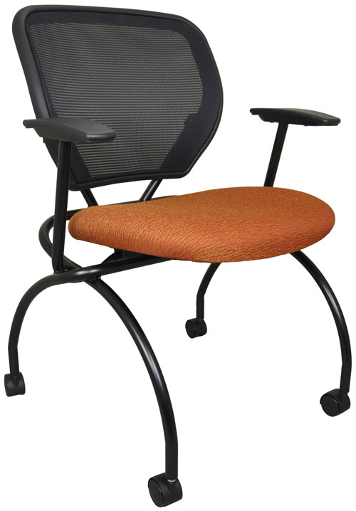 Caboodle nesting chair, shown in Brick color with black frame