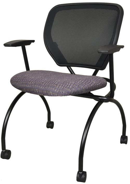 Folding chair with purple fabric seat and black mesh back