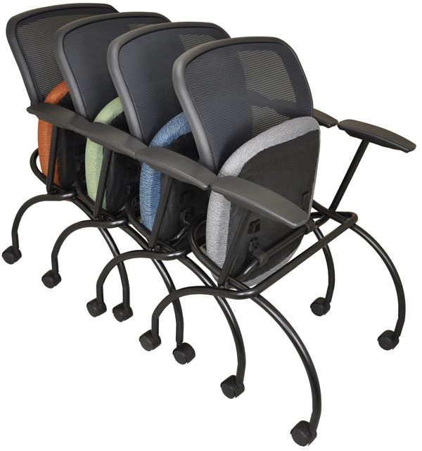 Gray, slate blue, green and rust-colored Caboodle chairs, shown nested