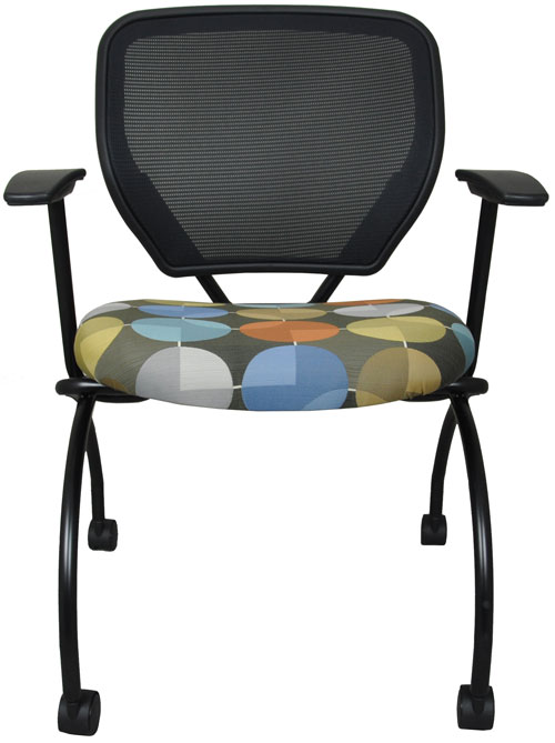 Nesting chair with multi-colored seat and black poly mesh back