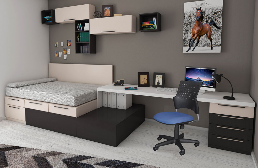 Dorm room with desk chair