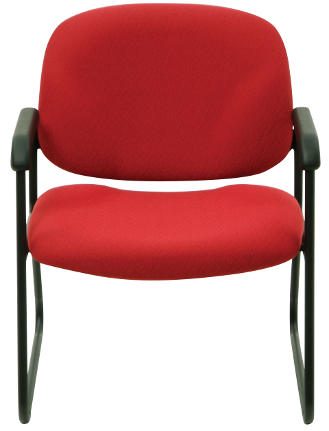 Start guest chair with red seat and back, and black arms and frame