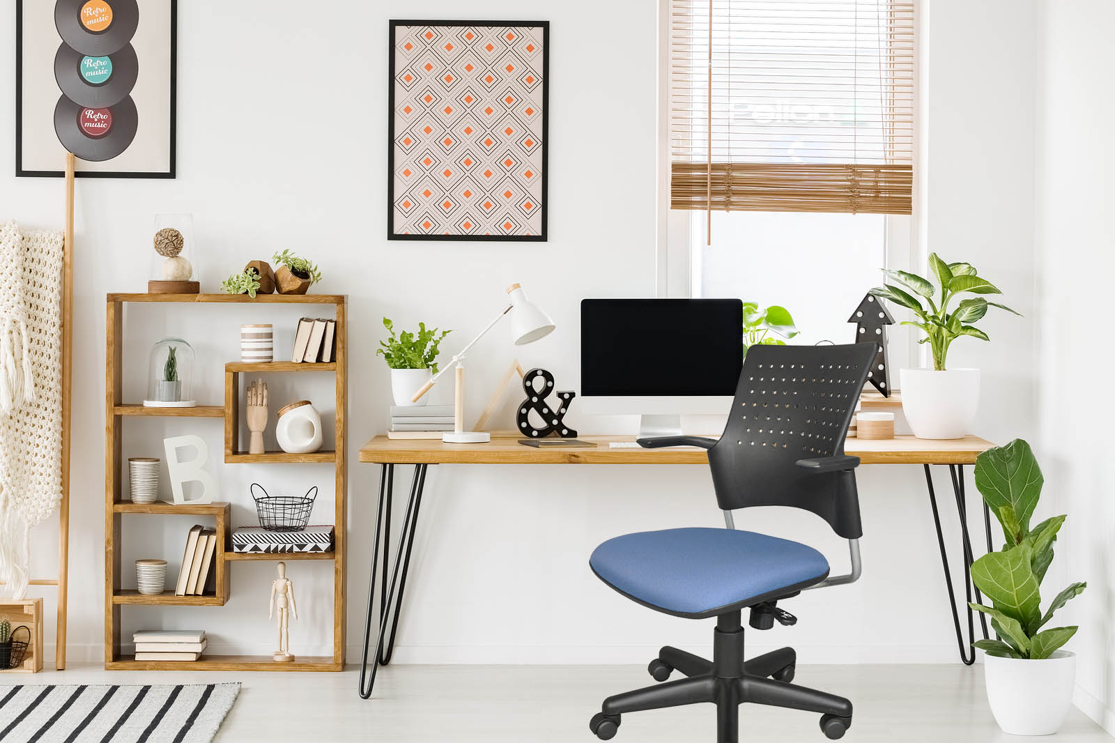 Snap chair with blue seat at desk in dorm room